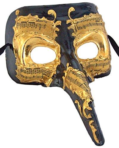 Venetian Mask Ebony Gold Casanova Masquerade Halloween Costume Mardi Gras - Venetian Casanova Costume