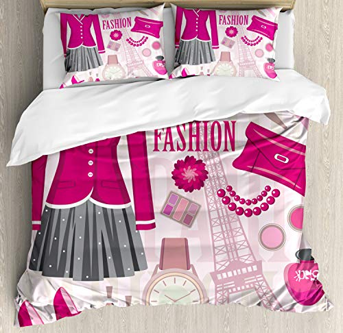 (Ambesonne Fashion Duvet Cover Set Queen Size, Fashion Theme in Paris with Outfits Dress Watch Purse Perfume Parisienne Landmark Picture, Decorative 3 Piece Bedding Set with 2 Pillow Shams, Beige)