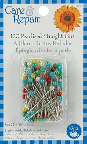 Dritz Assorted Pearlized Straight Pins, Size 24, 120-Pack