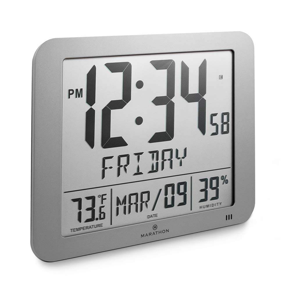 Marathon CL030067GG Slim Atomic Full Calendar Clock with Large 3.25'' Digits, Indoor Temperature and Humidity. Batteries Included. Color- Graphite Grey by Marathon