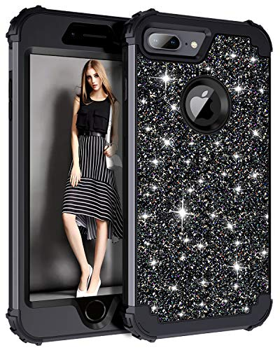 Casetego Compatible iPhone 8 Plus Case,iPhone 7 Plus Case,Glitter Sparkle Bling Three Layer Heavy Duty Hybrid Sturdy Shockproof Protective Cover Case for Apple iPhone 8 Plus/7 Plus,Shiny Black