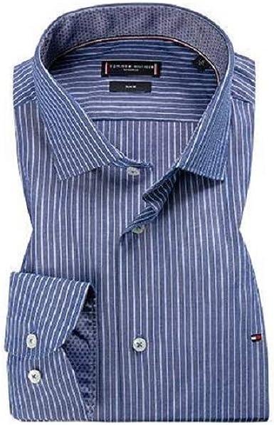 Tommy Hilfiger Camisa ajustada de popelina azul vaquero a ...
