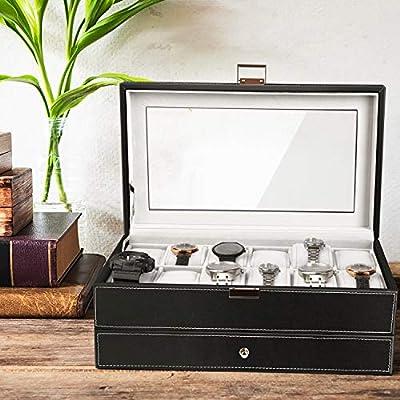 Amzdeal – Expositor para reloj de piel de doble capa; caja de ...