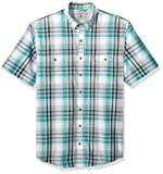 G.H. Bass & Co. Men's Big and Tall Explorer Short Sleeve Button Down Shirt, Green Blue Slate Plaid, 2X-Large