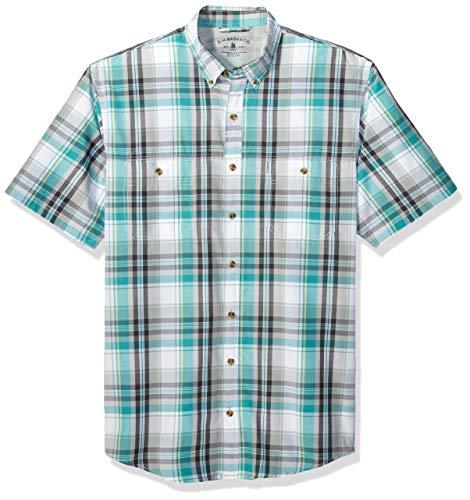 G.H. Bass & Co. Men's Big and Tall Explorer Short Sleeve Button Down Shirt,  Green Blue Slate Plaid, 2X-Large Tall