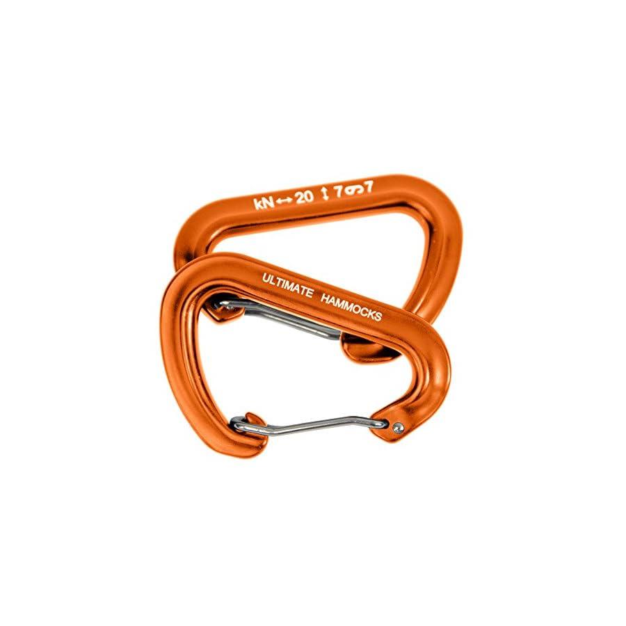 Ultimate Hammocks Wiregate Carabiner (Set Of 2) Mini Aluminum Lightweight Biners For Hammock Tree Straps 20KN Rating