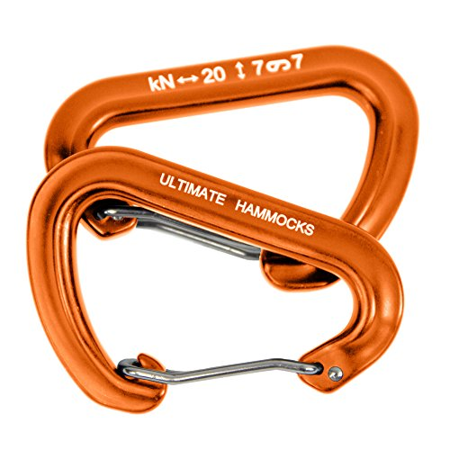 Ultimate Hammocks Wiregate Carabiner (Set Of 2) Mini Aluminum Lightweight Biners For Hammock Tree Straps 20KN Rating