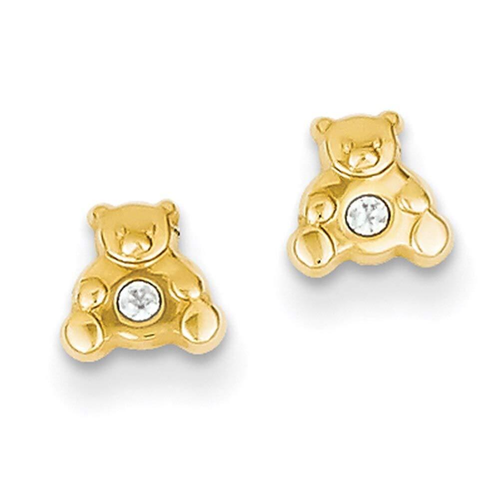 Lex /& Lu 14k Yellow Gold Bear w//CZ Earrings