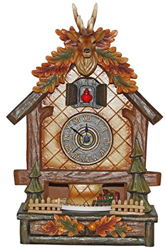 Musicbox Kingdom Clock with Deer Antlers. On The Hour The Cuckoo Appears and The Train Starts to Turn. Musicbox, Multi Color