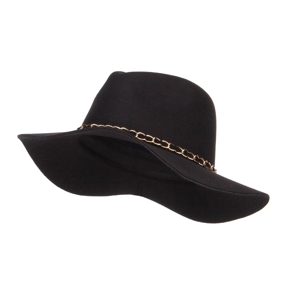 Faux Felt Chain Band Panama Hat - Black OSFM by SS/Hat