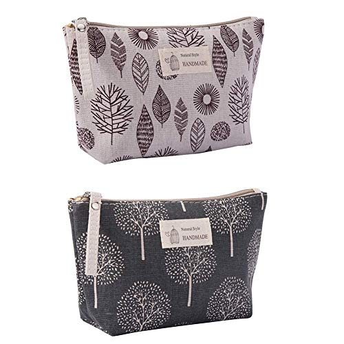 Canvas Large Makeup Bag Pouch Purse Coin Bag Cosmetic Organizer Multifunctional Handmade Cloth Bag for Women (21X13cm/ 8.27X5.12 Inch) (Wish Tree + Leaf)