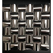 Stainless Steel Mosaic Tile by Tile Importers - Half Barrel Modern 12 x 12 - Looks great as Kitchen Backsplash / Fireplace Surround / Home Decor / Bathroom Wall