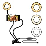Selfie Ring Light with Phone Holder Stand for Youtube, Facebook, Live Streaming, Podcast & Makeup, LED Camera Light [3-Light Mode & 10-Level Brightness] Clamp on Flexible Gooseneck Lazy Bracket Black