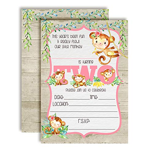 Our Little Monkey Watercolor Jungle Second Birthday Party Invitations for Girls, 20 5