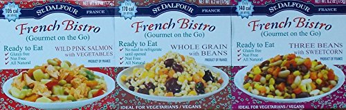 St. Dalfour French Bistro (Gourmet On The Go) Ready To Eat 3 Flavor Variety Bundle: (1) Wild Pink Salmon & Vegetables, (1) Whole Grain & Beans, and (1) Three Beans & Sweet Corn, 6.2 Oz. Ea. (3 Total) by St. Dalfour