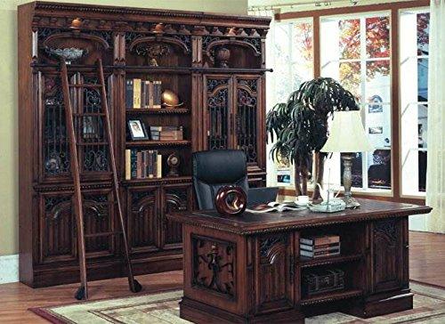 double-pedestal-executive-desk-bookcase-ladder-set