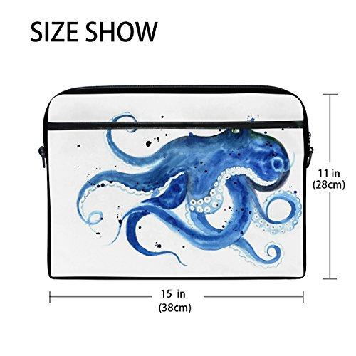 jstel blau Octopus Watercolor Laptop Schulter Messenger Tasche Fall Sleeve für 35,6cm zu 39,6cm mit verstellbarer Notebook Schultergurt