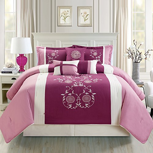 Fashion Street 7 Piece San Marco Embroidered Comforter Set, Purple, King Marco Comforter Set