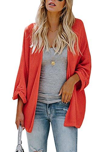 Huiyuzhi Womens Cardigan Sweaters Oversized Lightweight Loose Pleated Cuffs Long Casual Open Front Knit Sweater Drape Coats (Long Sweater Coat Cardigan)