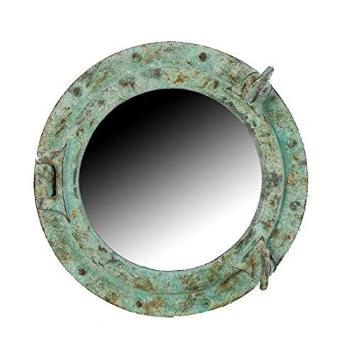 Nautical Tropical Imports Porthole Mirror Wall Mount Shipwreck Finish 12 Inch - Hull Mirrors Bathroom