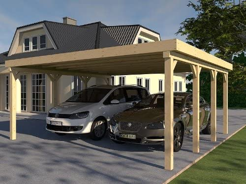 Kit de montaje de construcción de madera sólida para tejado plano para porche de automóvil AVUS III 600 X 600 cm: Amazon.es: Coche y moto