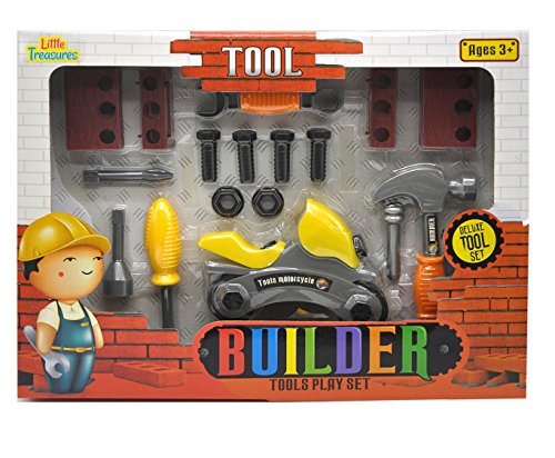 Little Treasures BUILDER 16pcs pretend play Mechanic Tools Set - a combination of working function hand tools including wrench, screwdriver, hammer, motorcycle which can be assembled and dis-assembled (Hammer Motorcycle)
