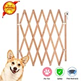 "Expandable Accordian Dog Gate, Wooden Accordion Expansion Gate for Doorway Stairs, Folding Gate Safety Protection for Small Medium Pet Dog, 10"" to 41"" W, 16"" H & 8"" to 43"" W, 27"" H"