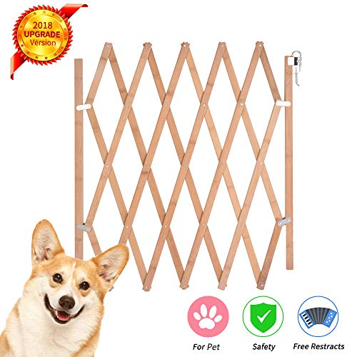 Expandable Accordian Dog Gate, Wooden Accordion Expansion Gate for Doorway Stairs, Folding Gate Safety Protection for Small Medium Pet Dog, 10