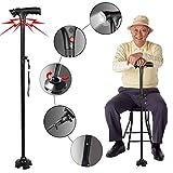 Sminiker Professional LED Safety Folding Walking Cane, Safety LED Walking Stick with Alarm and...