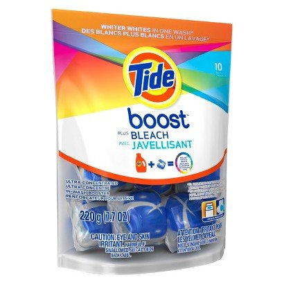 4 Pk, Tide Boost Vivid White Bright He In-Wash Booster 10 Count (40 Total)