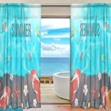 Vantaso Sheer Curtains 78 inch Long Lovely Summer Slippers On Wood Board for Kids Girls Bedroom Living Room Window Decorative 2 Panels