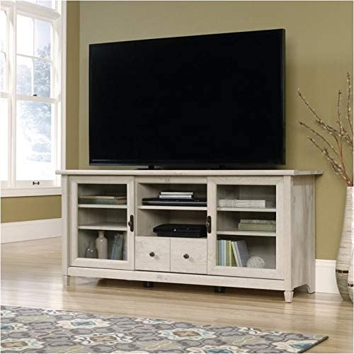 Pemberly Row TV Stand Console Entertainment Center Credenza Living Room Glass Media Storage with Cord Management, for TV s up to 55 , in Chalked White Chestnut