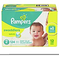 Diapers Size 2, 124 Count - Pampers Swaddlers Disposable Baby Diapers, Giant Pack