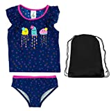 Kiko & Max Toddler Girls Monster Short Sleeve Rash Guard 2 PC Swimsuit and Bag 4T
