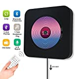 Portable CD Player, Jimwey Wall Mountable Bluetooth Built-in HiFi Speakers, Home Audio FM Radio USB MP3 Music Player, 3.5mm Headphone Jack AUX Input/output With Pulling-Switch/ Remote Control (Black)