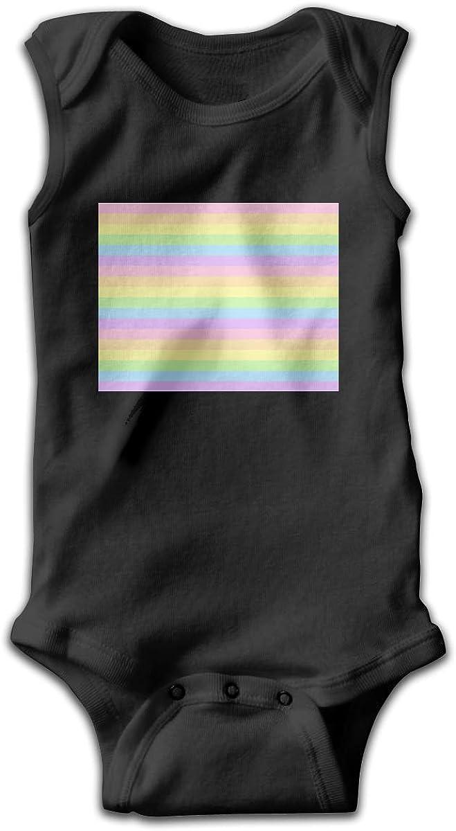 UyGFYytg Pastel Rainbow Striped Baby Newborn Crawling Suit Sleeveless Onesie Romper Jumpsuit Black