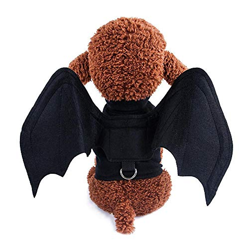 AUOKER Dog Cat Cosplay Costume Halloween, Tarantula Bat Wings Pet Costumes, Outfit Apparel Furry Spider Legs Cosplay Dress Up for Cats and Dogs(Black)]()
