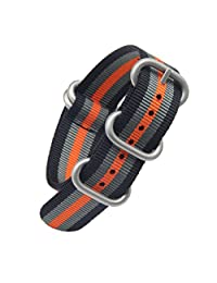 22mm Black/Grey/Orange Deluxe Premium NATO style Sturdy Exotic Nylon Sport Men's Wrist Watch Band Strap