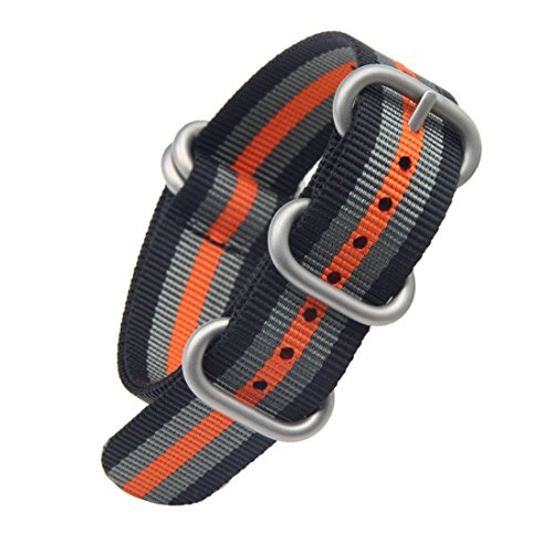 24mm Black/Grey/Orange Luxurious Military Durable Nylon Nato style Watch Straps Bands Replacement for Men