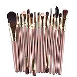 Mosunx 15 pcs Makeup Brush Set tools Makeup Toiletry Make Up Brush Set (Gold)