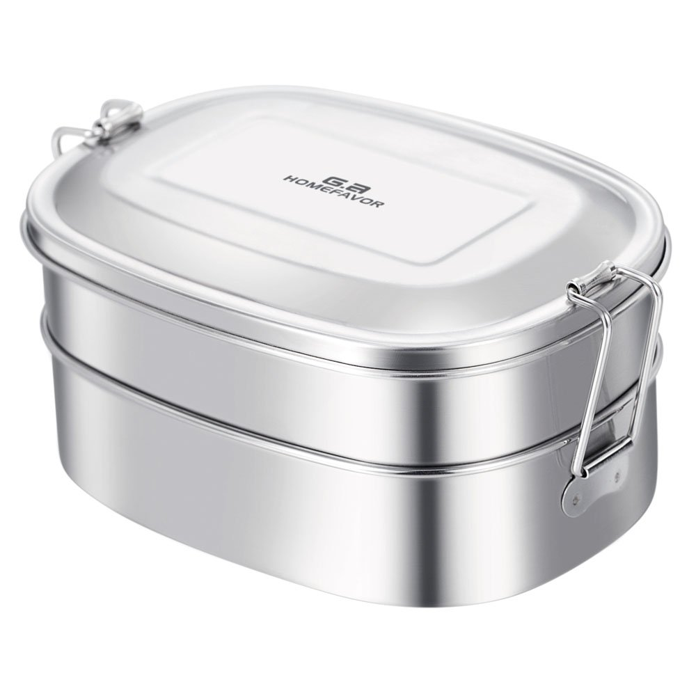 GA Homefavor Stainless Steel Lunch Box 2-in-1 Bento Box Eco-Friendly Food Container G.a HOMEFAVOR