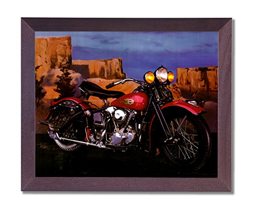 Knucklehead Harley Davidson Motorcycle Picture Framed Art Print