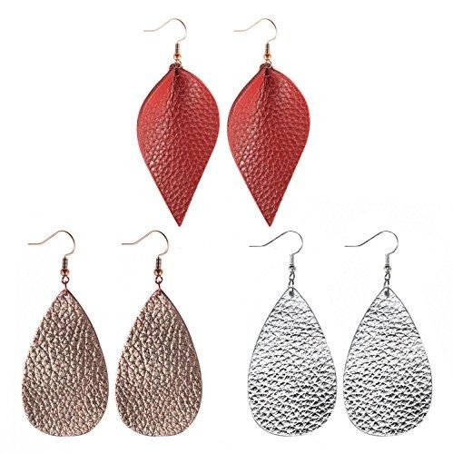 (Me&Hz Womens Leather Teardrop Dangle Earrings Silver/Rose Gold/Red Genuine Leather Drop Earrings 3)