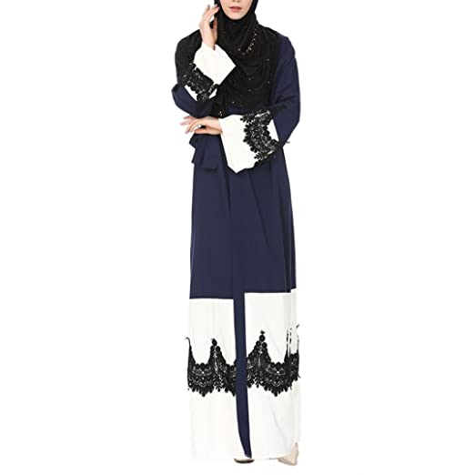 45019f6bcffc2f WILLTOO Womens Kimono Jilbab Muslim Open Front Lace Casual Cardigan Islamic  Kaftan Robe Daily Blouse Navy at Amazon Women s Clothing store