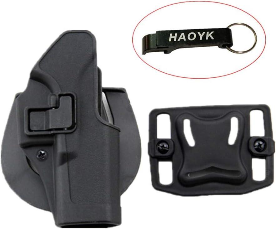 haoYK Taktische Airsoft Pistole Concealment Ziehen Rechtshänder Paddle Gürtel Holster Pouch für Glock 17 19 22 23 31 32 - Llavero Incluido