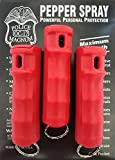 Police 3 MAGNUM PEPPER SPRAY 1/2oz RED Flip Top Molded Keychain Security Self Defense Strength