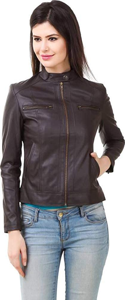 Burgundy Brown Trailblazerzz Womens Leather Jackets Motorcycle