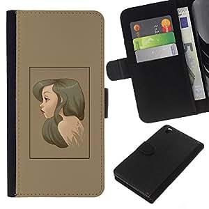 LECELL--Cuero de la tarjeta la carpeta del tirón Smartphone Slots Protección Holder For HTC DESIRE 816 -- Brunette Retrato --