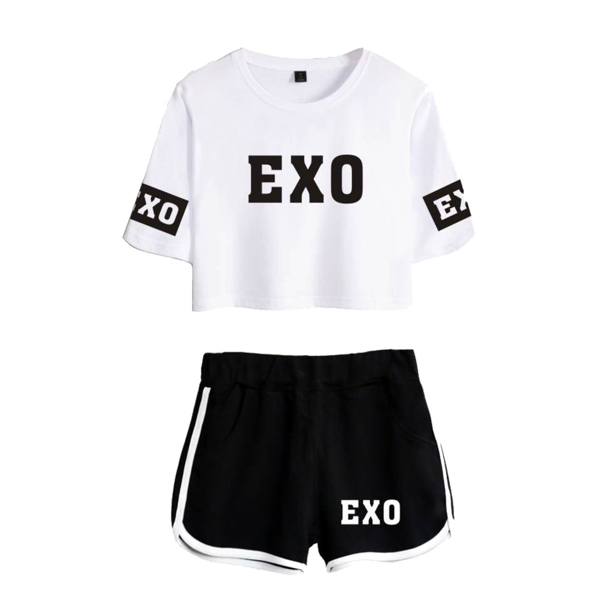 Running Shorts babyHealthy Kpop EXO Two Piece Suit Chanyeol Chen Sehun T-Shirt