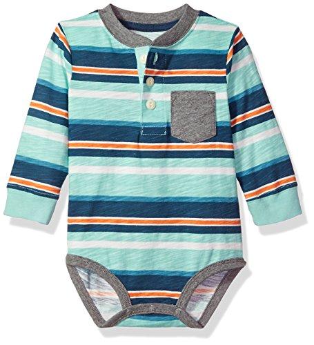 Osh Kosh Baby Boys' Pocket Henley Bodysuits, Turquoise Stripe, 12 Months